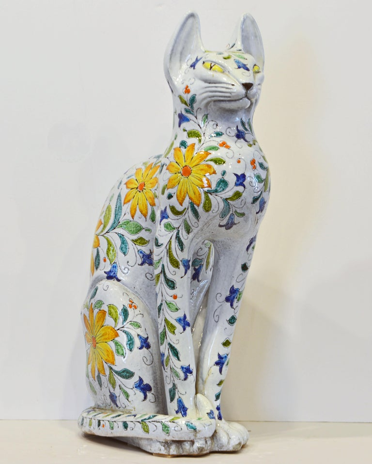 Mid-Century Modern Egyptian Inspired Glazed Terracotta Cat with Floral Decoration, 20th Century For Sale