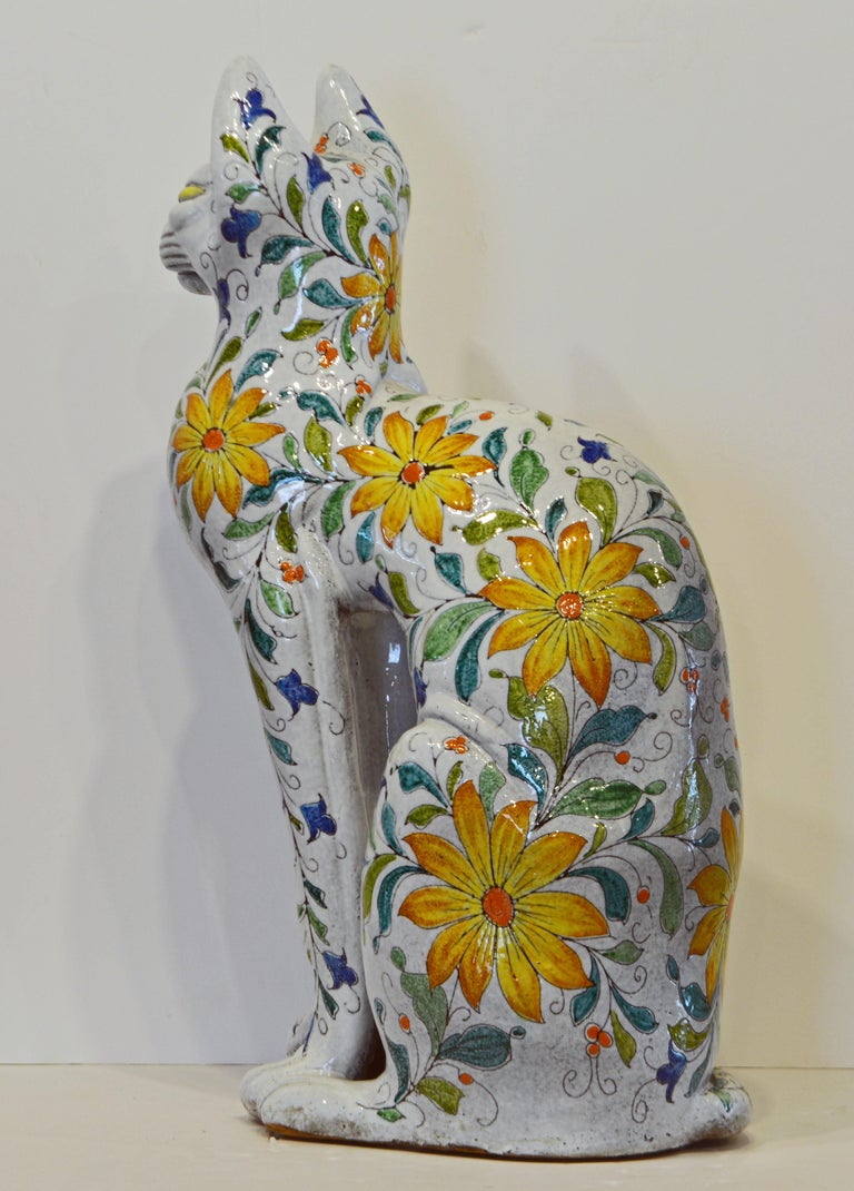 Egyptian Inspired Glazed Terracotta Cat with Floral Decoration, 20th Century In Good Condition For Sale In Ft. Lauderdale, FL