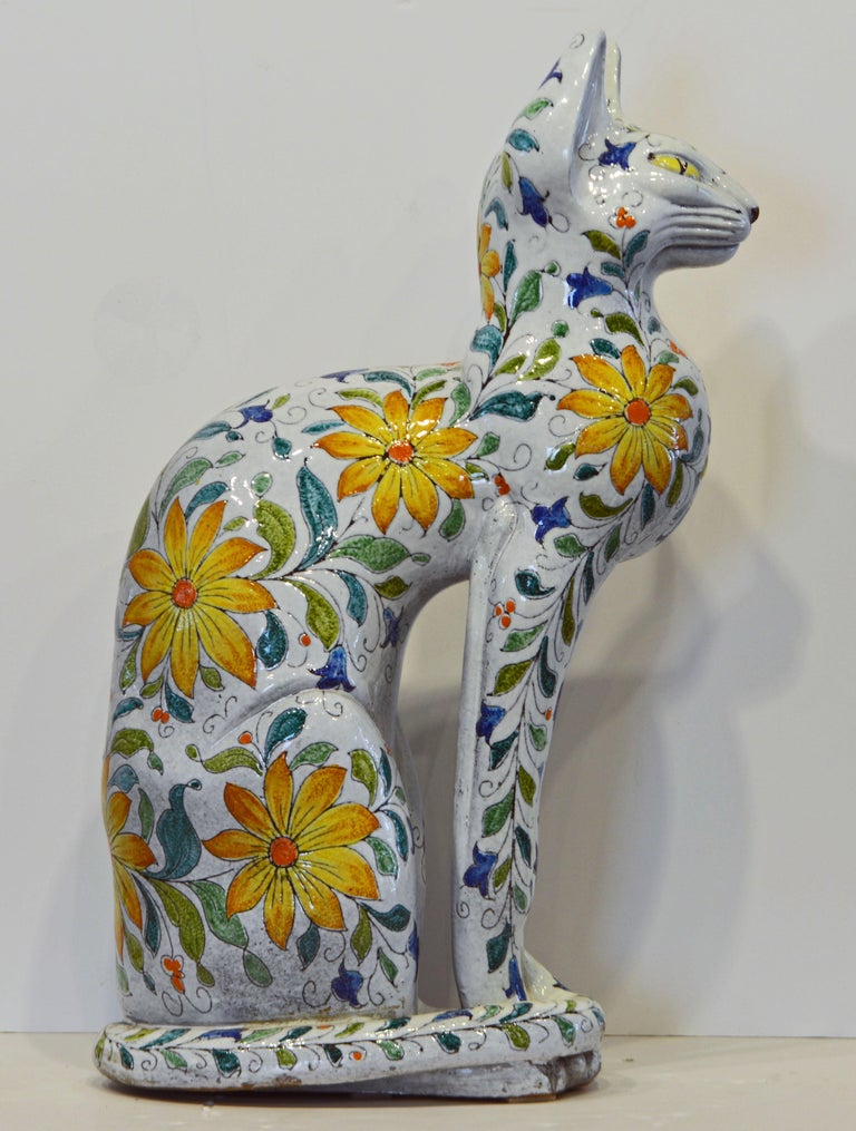 Egyptian Inspired Glazed Terracotta Cat with Floral Decoration, 20th Century For Sale 1