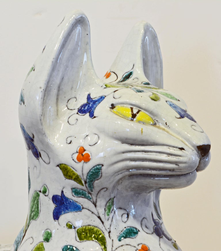 Egyptian Inspired Glazed Terracotta Cat with Floral Decoration, 20th Century For Sale 2