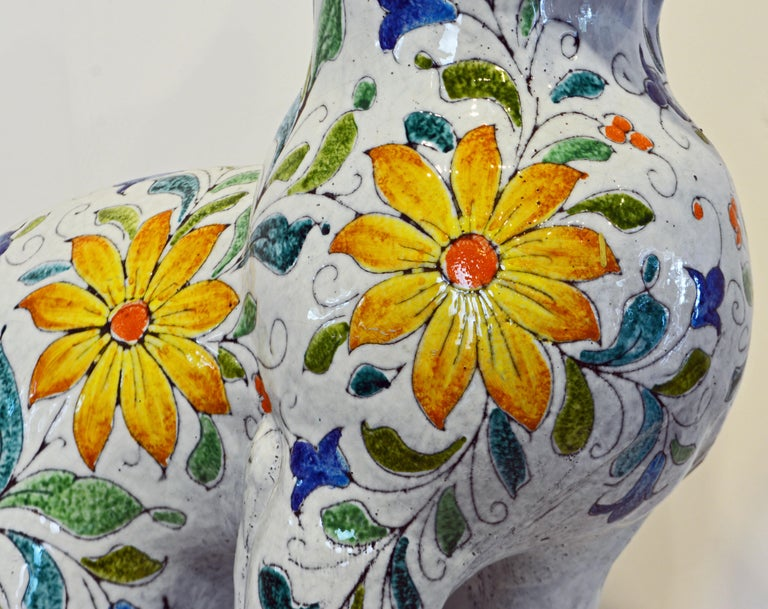 Egyptian Inspired Glazed Terracotta Cat with Floral Decoration, 20th Century For Sale 3