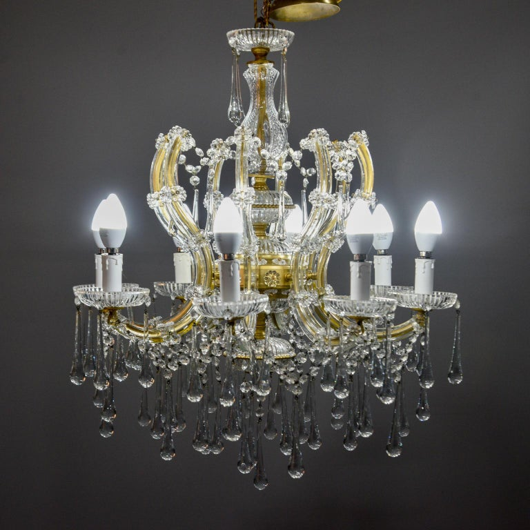 Metal Italian Eight Light Crystal Chandelier For Sale