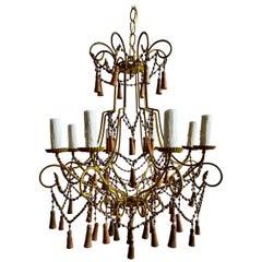 Italian Eight Light Wood Beaded Tassel Chandelier