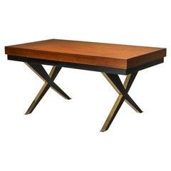 Italian Elegant Desk on Brass X Shaped Legs