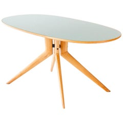 Italian Elliptical Light wood and Light Green Glass Table, 1950s