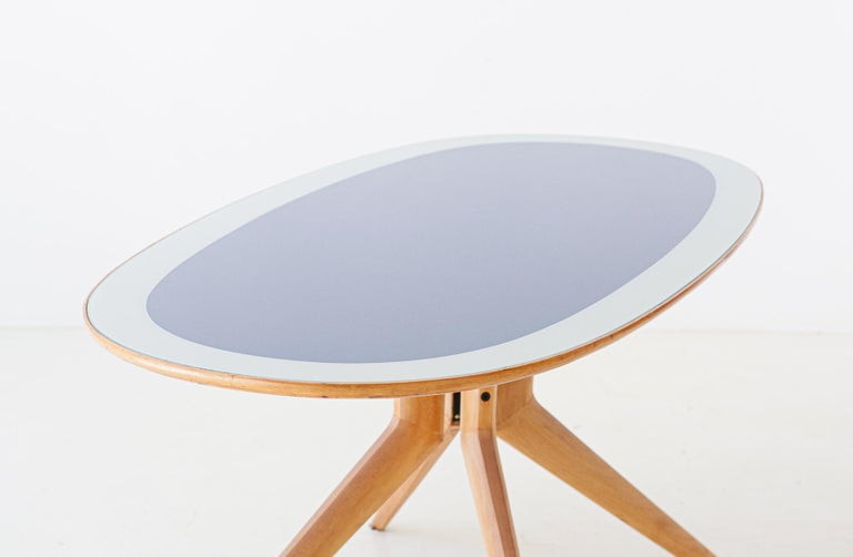 Mid-Century Modern Italian Elliptical Light Wood and Blue Glass Table, 1950s For Sale