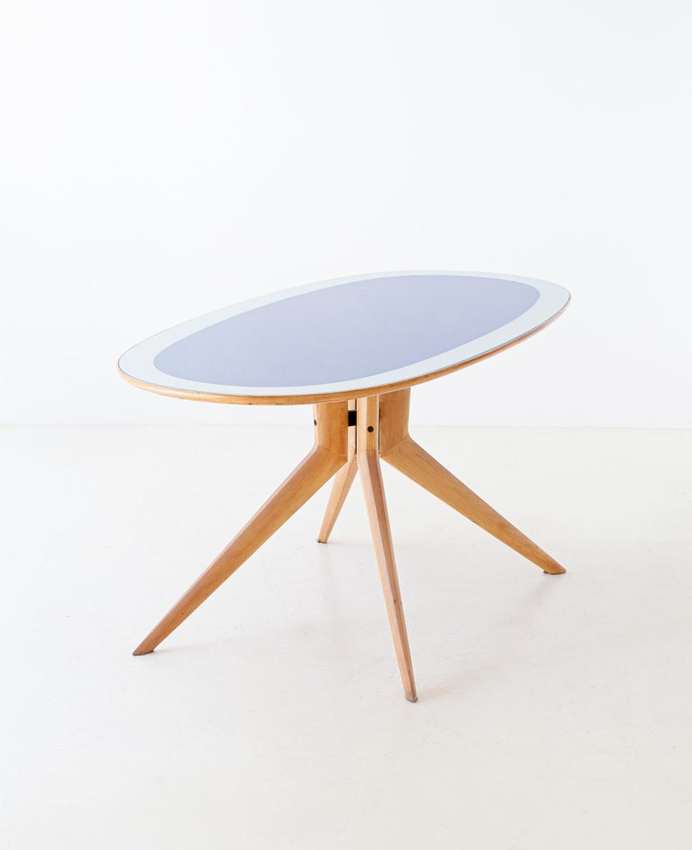 Beech Italian Elliptical Light Wood and Blue Glass Table, 1950s For Sale