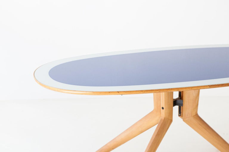 Italian Elliptical Light Wood and Blue Glass Table, 1950s For Sale 1