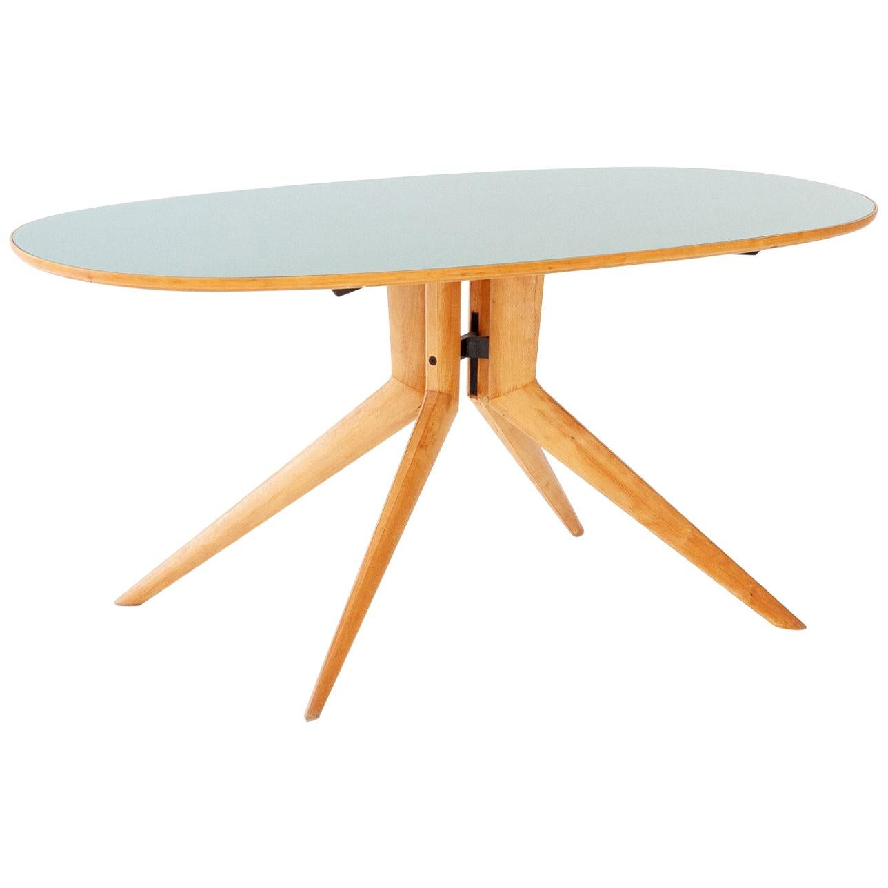 Italian Elliptical Light Wood and Sage Green Glass Table, 1950s