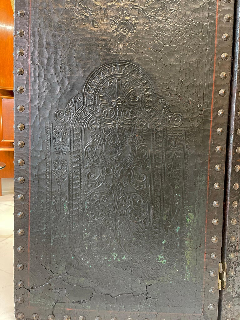 Italian Embossed Leather Two Panel Screen For Sale 5