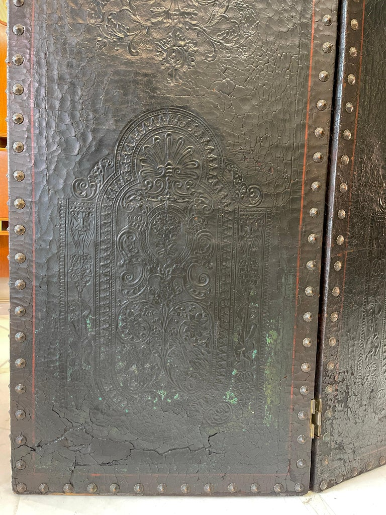 Italian Embossed Leather Two Panel Screen For Sale 6