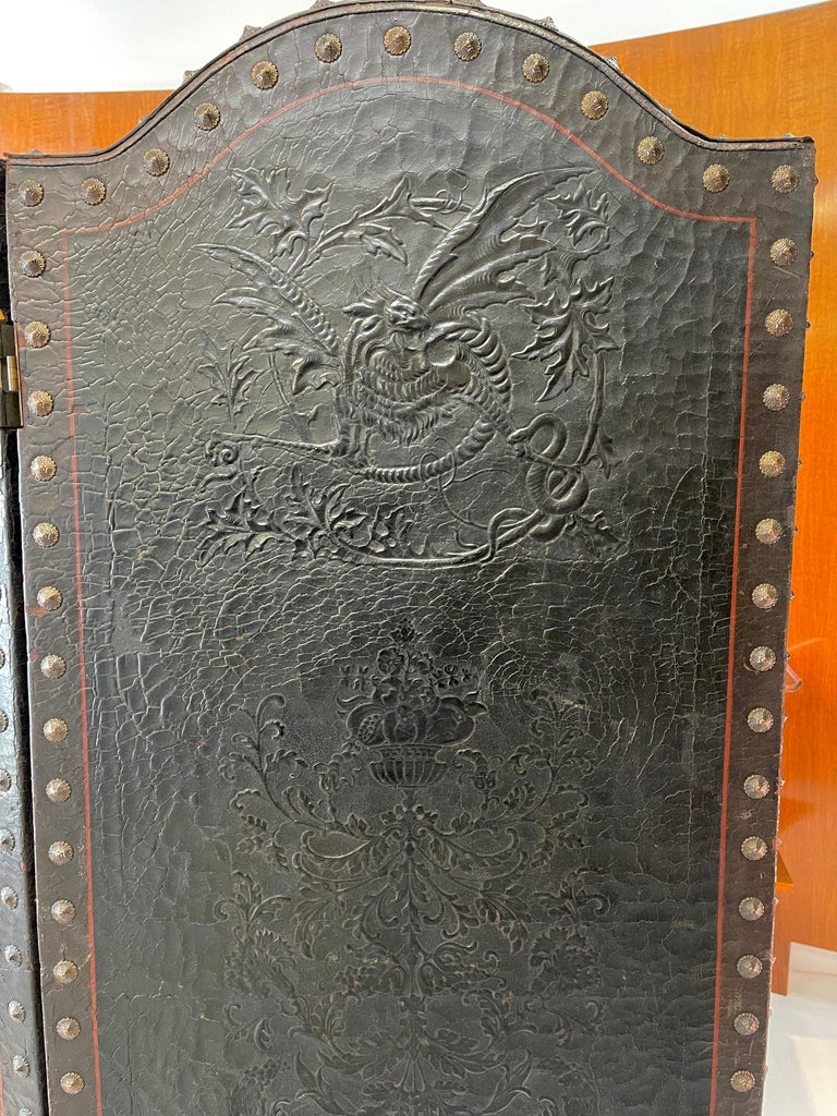 Italian Embossed Leather Two Panel Screen For Sale 7