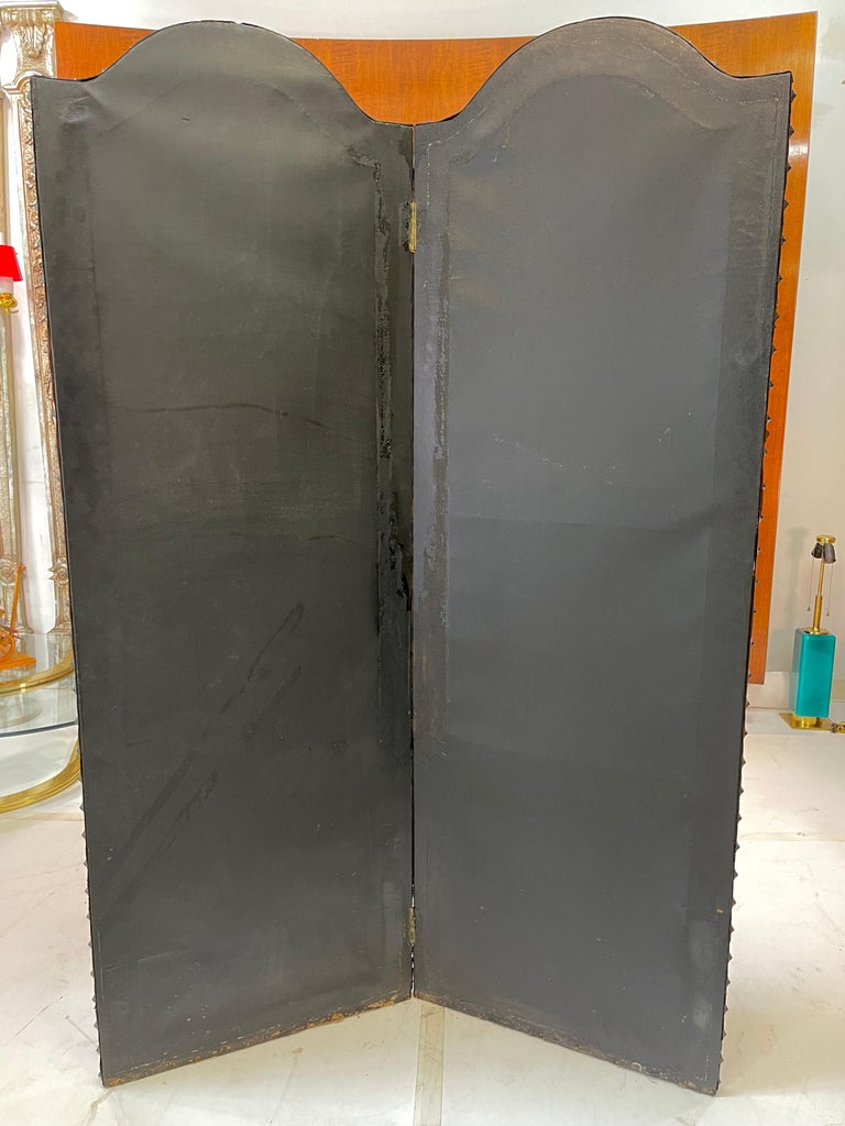 Italian Embossed Leather Two Panel Screen For Sale 10