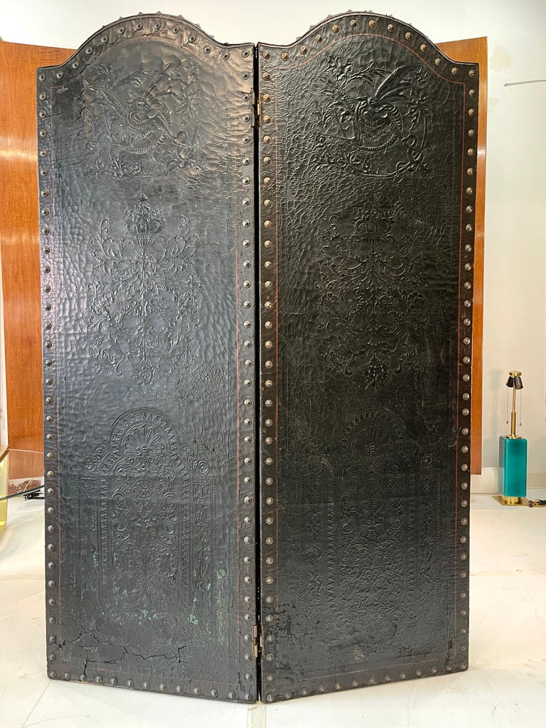 Italian Embossed Leather Two Panel Screen In Distressed Condition For Sale In Hingham, MA