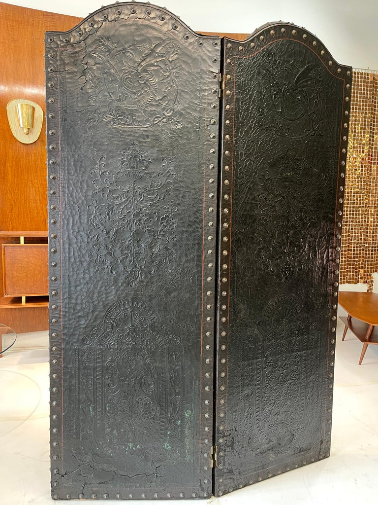 Early 20th Century Italian Embossed Leather Two Panel Screen For Sale