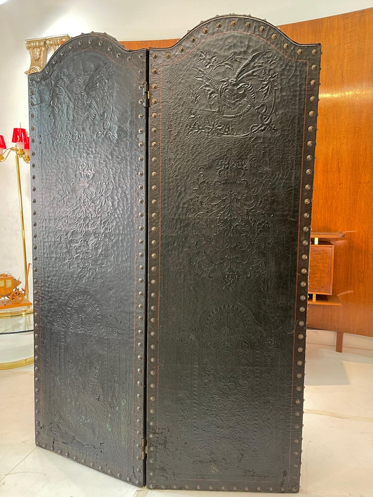 Italian Embossed Leather Two Panel Screen For Sale 1