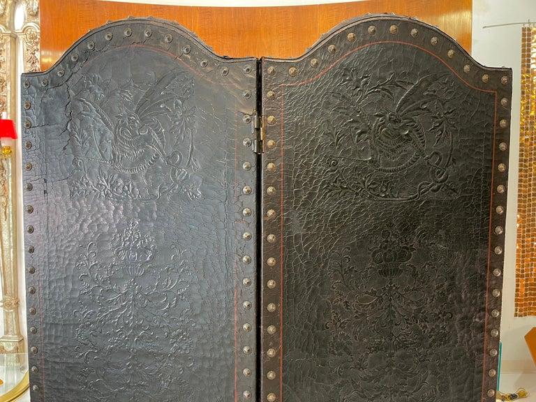 Italian Embossed Leather Two Panel Screen For Sale 2