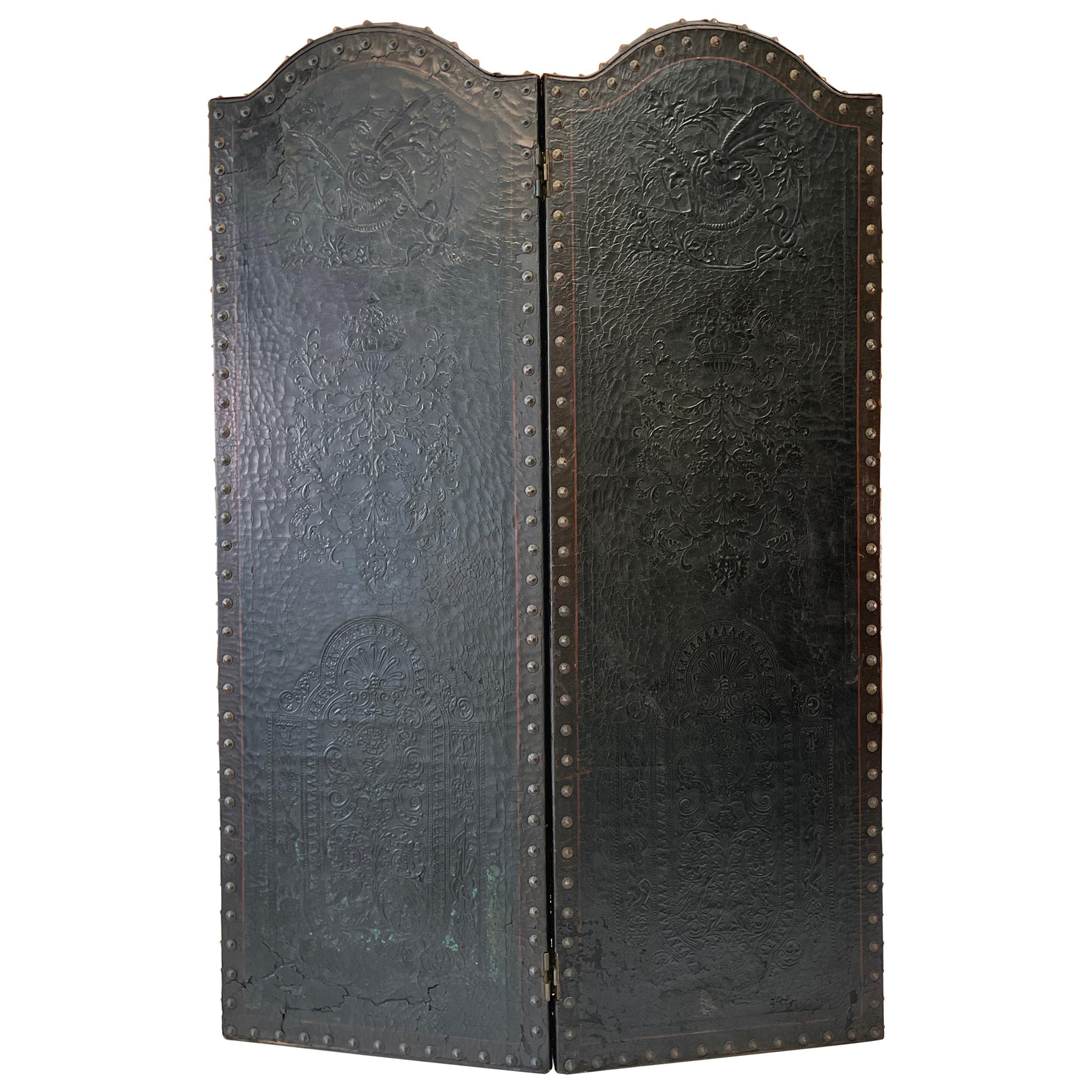 Italian Embossed Leather Two Panel Screen