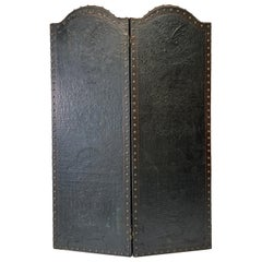 Italian Embossed Leather Two Panel Screen