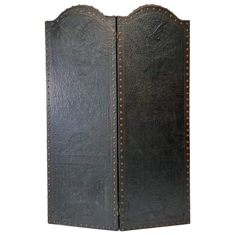 Italian Embossed Leather Two Panel Screen For Sale