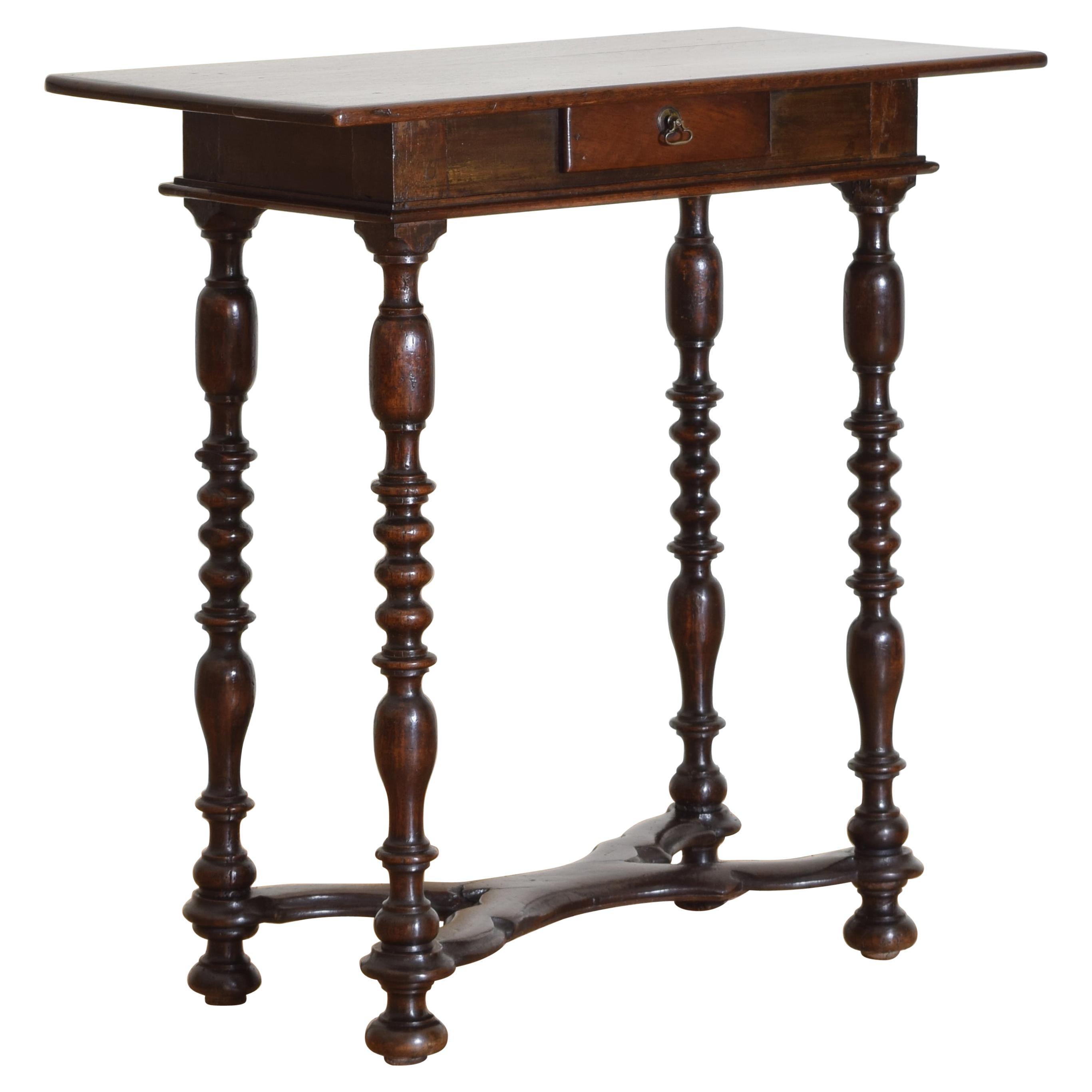 Italian, Emiliana, Turned Walnut 1-Drawer Table, Early 18th Century