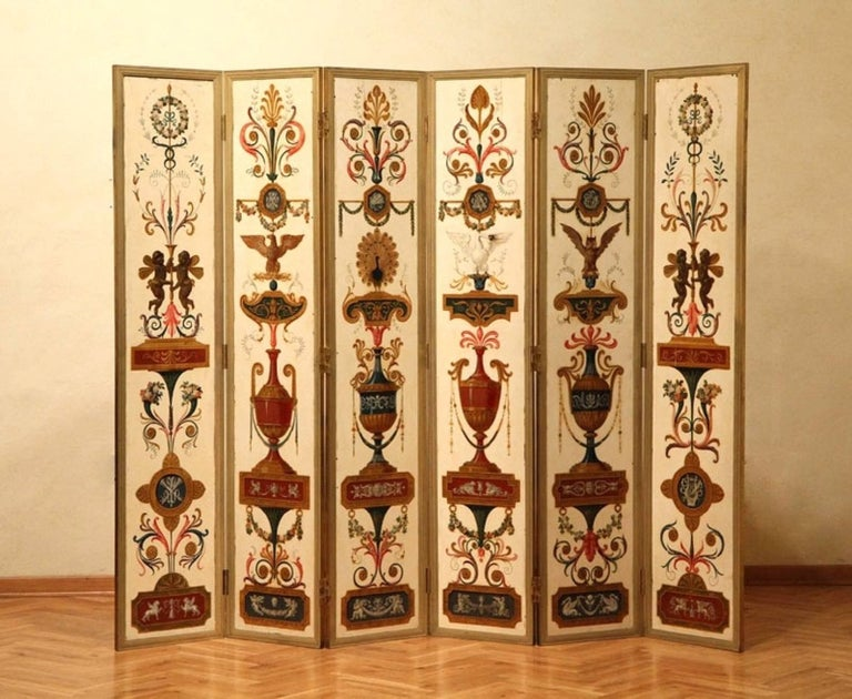 Italian Empire Folding Screen with Multicolored Lacquer Wood in Ormolu Frame For Sale 5