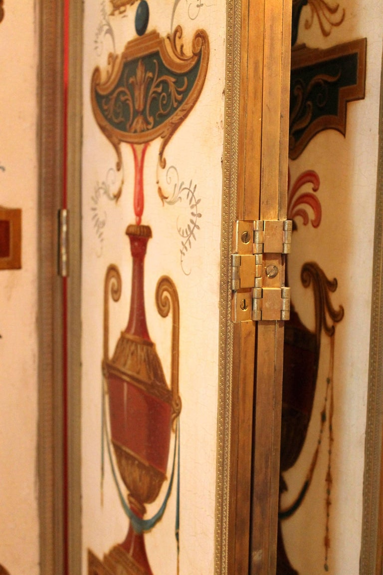 Italian Empire Folding Screen with Multicolored Lacquer Wood in Ormolu Frame For Sale 6