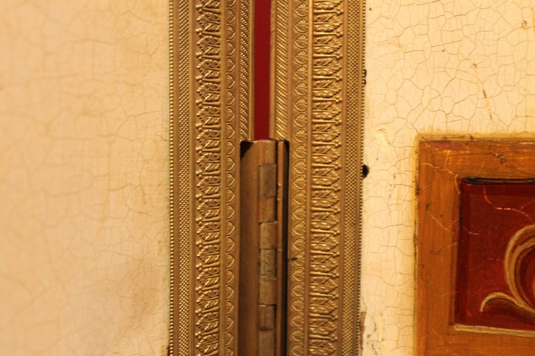 Italian Empire Folding Screen with Multicolored Lacquer Wood in Ormolu Frame For Sale 7