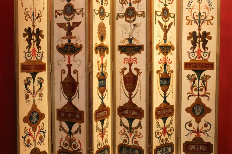 Italian Empire Folding Screen with Multicolored Lacquer Wood in Ormolu Frame For Sale 8