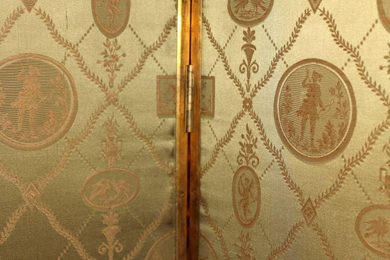 Italian Empire Folding Screen with Multicolored Lacquer Wood in Ormolu Frame For Sale 9