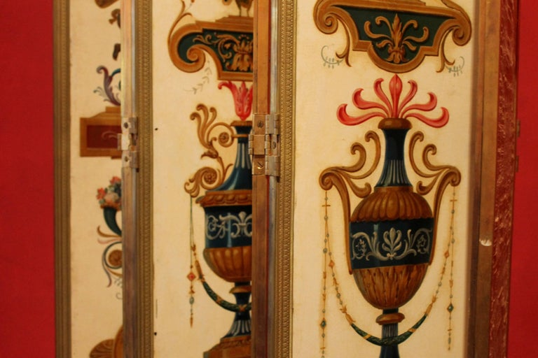 Italian Empire Folding Screen with Multicolored Lacquer Wood in Ormolu Frame For Sale 12