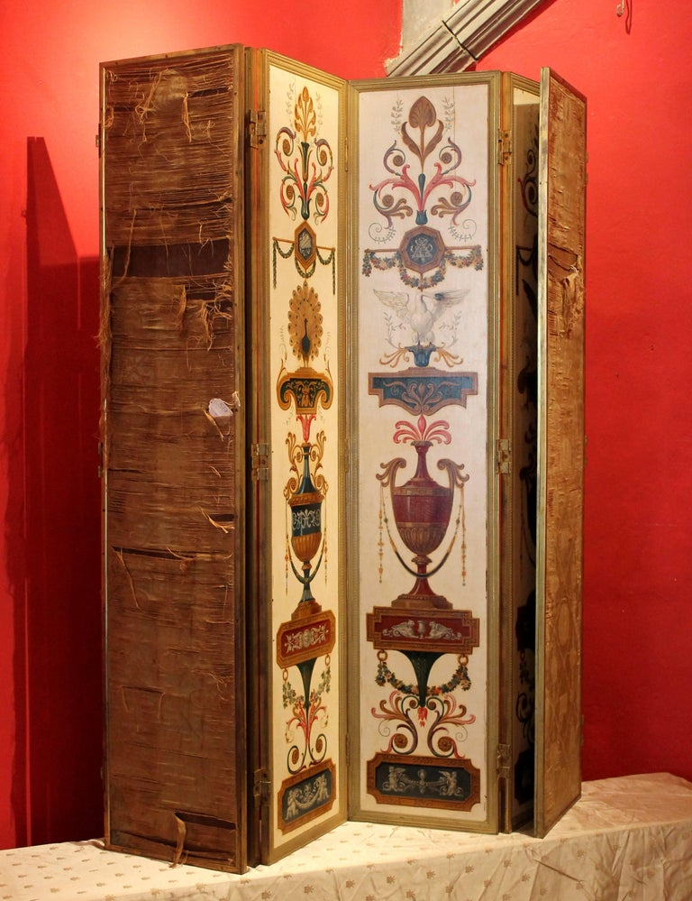 Gilt Italian Empire Folding Screen with Multicolored Lacquer Wood in Ormolu Frame For Sale
