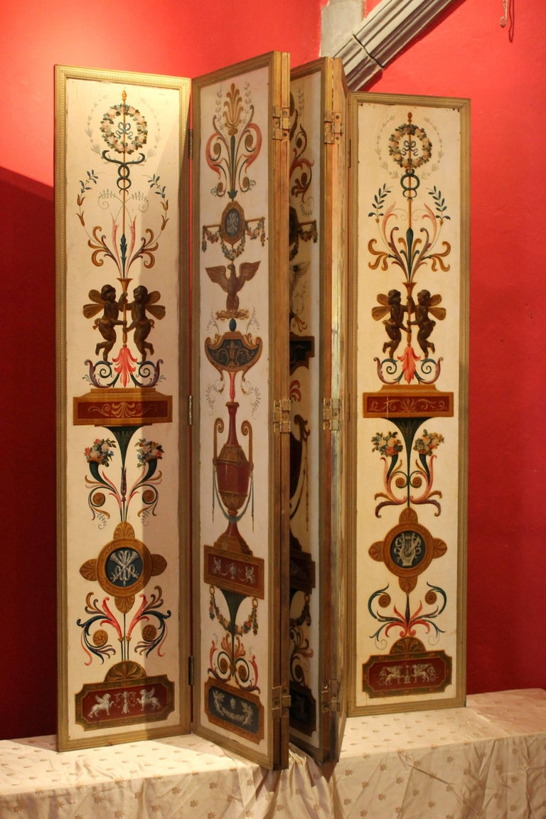 Italian Empire Folding Screen with Multicolored Lacquer Wood in Ormolu Frame For Sale 1