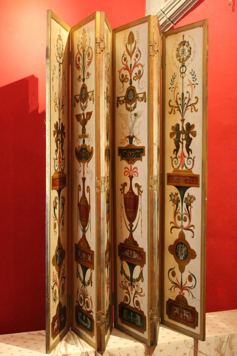 Italian Empire Folding Screen with Multicolored Lacquer Wood in Ormolu Frame For Sale 2