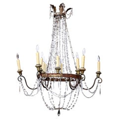 Italian Empire Iron and Crystal Chandelier from Lucca