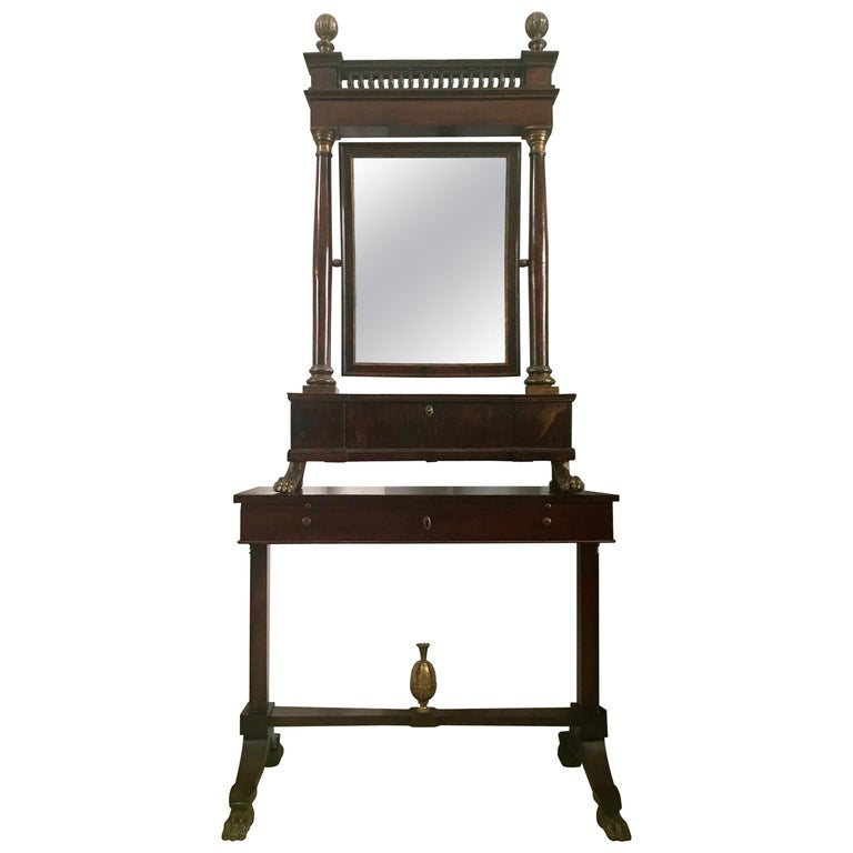 Italian Empire Neoclassical Walnut and Parcel-Gilt Secretary For Sale