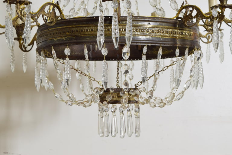 Italian Empire Period Brass, Silvered Brass, and Glass 9-Light Chandelier For Sale 7