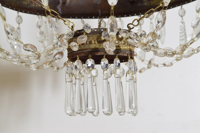 Italian Empire Period Brass, Silvered Brass, and Glass 9-Light Chandelier For Sale 8