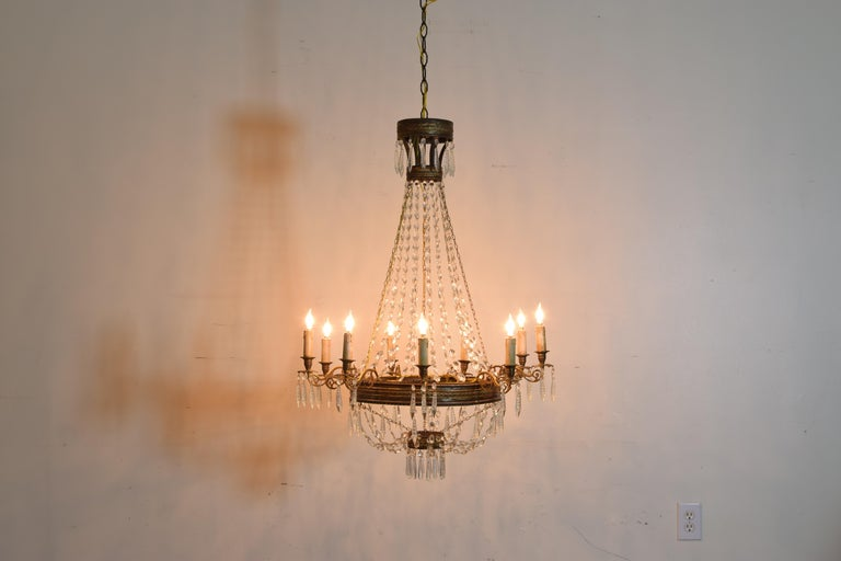 Italian Empire Period Brass, Silvered Brass, and Glass 9-Light Chandelier In Good Condition For Sale In Atlanta, GA