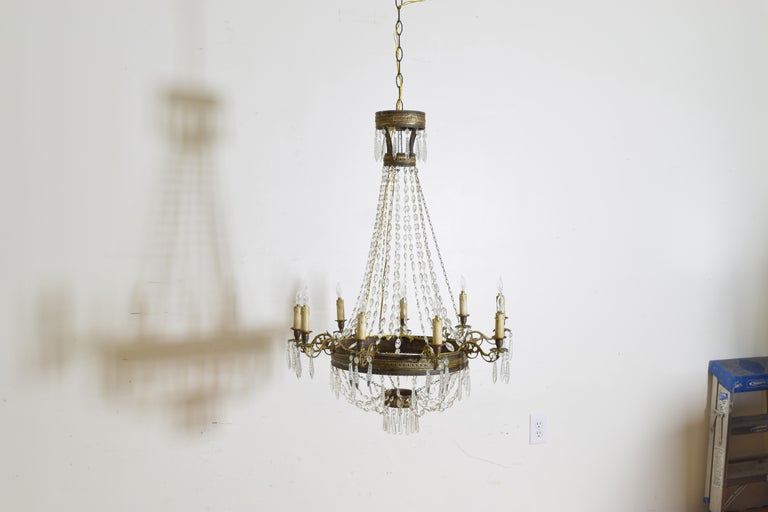 Italian Empire Period Brass, Silvered Brass, and Glass 9-Light Chandelier For Sale 1