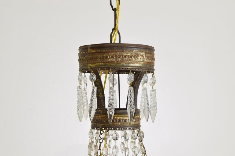 Italian Empire Period Brass, Silvered Brass, and Glass 9-Light Chandelier For Sale 2