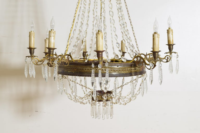 Italian Empire Period Brass, Silvered Brass, and Glass 9-Light Chandelier For Sale 3