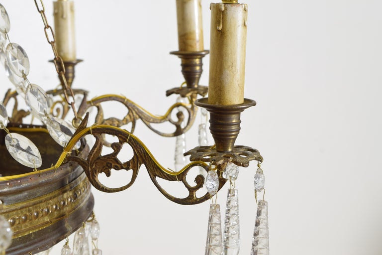 Italian Empire Period Brass, Silvered Brass, and Glass 9-Light Chandelier For Sale 6