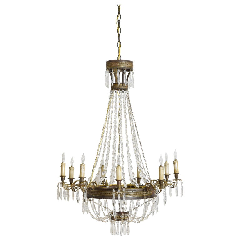 Italian Empire Period Brass, Silvered Brass, and Glass 9-Light Chandelier For Sale