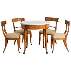 Italian Empire Period Cherrywood, Ebonized and Marble Table and Chairs
