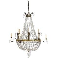 Italian Empire Period Gilt Brass, Brass, and Glass 12-Light Chandelier