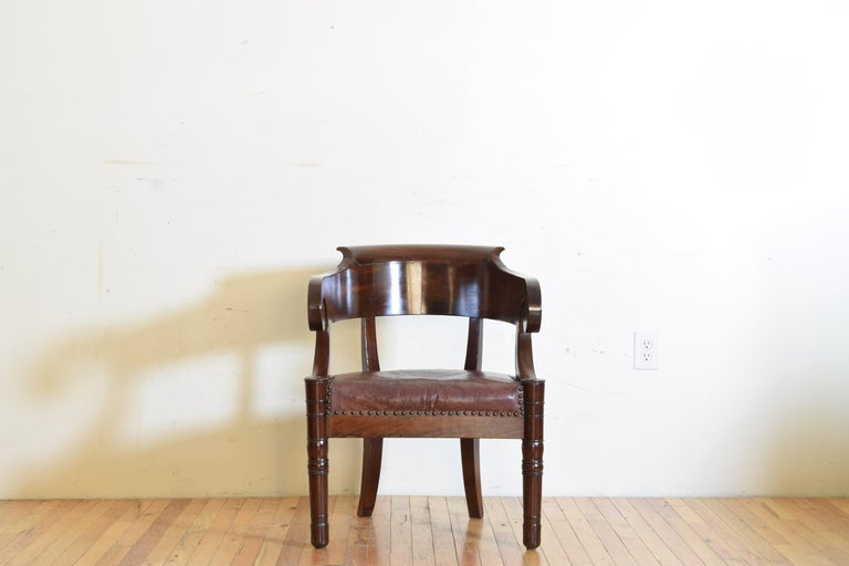 Italian Empire Period Mahogany Leather Upholstered Desk Chair In Good Condition For Sale In Atlanta, GA