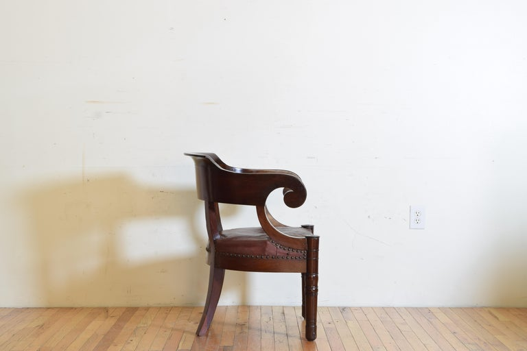 Early 19th Century Italian Empire Period Mahogany Leather Upholstered Desk Chair For Sale