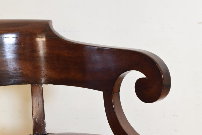 Italian Empire Period Mahogany Leather Upholstered Desk Chair For Sale 2