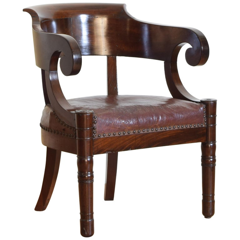 Italian Empire Period Mahogany Leather Upholstered Desk Chair For Sale